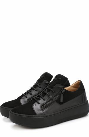 Замшевые кеды на шнуровке с кожаной отделкой Giuseppe Zanotti Design. Цвет: черный
