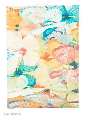 Обложка для паспорта Цветные бабочки Mitya Veselkov. Цвет: желтый, голубой, розовый