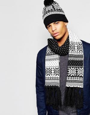 7X Шапка с помпоном и шарфом узором Фэйр-Айл в комплекте. Цвет: черный