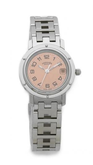Винтажные часы Hermes Clipper PM What Goes Around Comes. Цвет: коричневый/белый