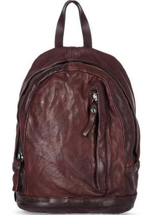 Кожаный рюкзак с одним отделом на молнии Campomaggi. Цвет: бордовый