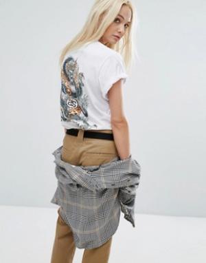 Stussy Oversize-футболка с логотипом и драконом на спине. Цвет: белый