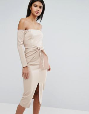 Lavish Alice Платье миди с завязкой спереди. Цвет: бежевый