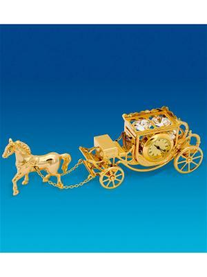 Фигурка с часами Карета лошадью Юнион. Цвет: золотистый