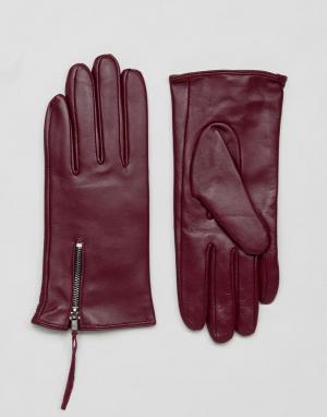 Barney's Originals Перчатки из натуральной кожи с молнией Barneys. Цвет: красный
