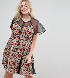 Frock and Frill Plus Бархатное платье мини с принтом и сетчатой отделкой Pl. Цвет: мульти