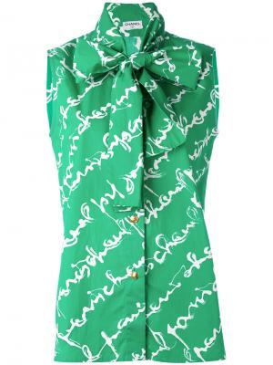 Блузка без рукавов Chanel Vintage. Цвет: зелёный