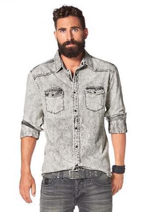 Джинсовая рубашка BRUNO BANANI. Цвет: светло-серый