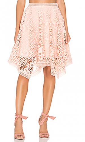 Кружевная юбка Lumier. Цвет: персиковый