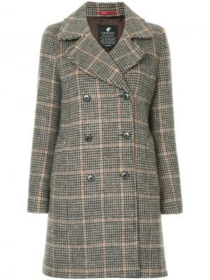 Пальто в ломаную клетку Loveless. Цвет: коричневый