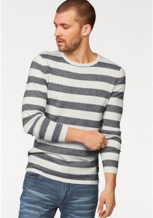 Пуловер JOHN DEVIN. Цвет: молочно-белый/синий меланжевый, черный/темно-серый меланжевый