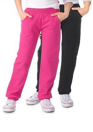 Трикотажные брюки,  (2 шт.) CFL. Цвет: чёрный+ярко-розовый