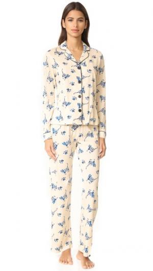 Пижамный набор Paws с рисунком под батик PJ Salvage. Цвет: коричневый