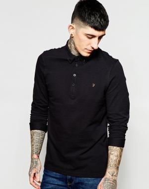 Farah Черная узкая футболка-поло с длинными рукавами Merriweather. Цвет: черный