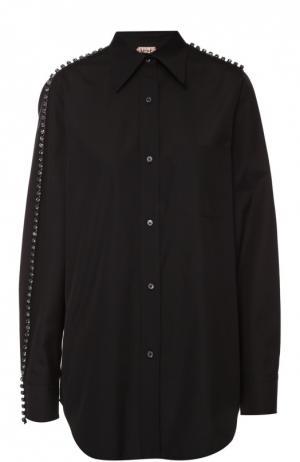 Хлопковая блуза прямого кроя с декоративной отделкой No. 21. Цвет: черный