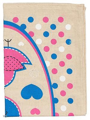 Полотенце льняное Птички в рамке GrandStyle. Цвет: розовый, бирюзовый, серый