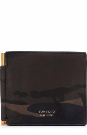 Кожаный зажим для денег с отделениями кредитных карт Tom Ford. Цвет: оливковый