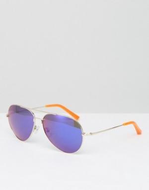 Matthew Williamson Солнцезащитные очки-авиаторы с фиолетовыми стеклами. Цвет: фиолетовый