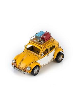 Модель Ретро Автомобиль жёлтый, с фоторамкой  4х5см PLATINUM quality. Цвет: желтый