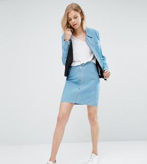 ADPT Tall Замшевая мини-юбка на молнии. Цвет: синий