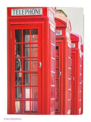 Обложка для автодокументов Будка в Лондоне Mitya Veselkov. Цвет: красный, розовый, белый