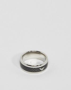 Emporio Armani Кольцо из углеродного волокна с логотипом. Цвет: серебряный