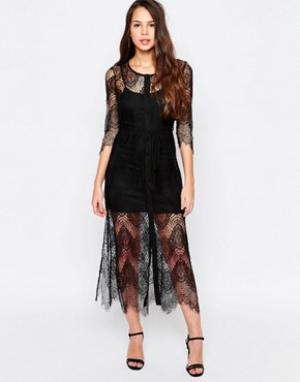 Goldie Кружевное платье-комбинация Karley. Цвет: черный