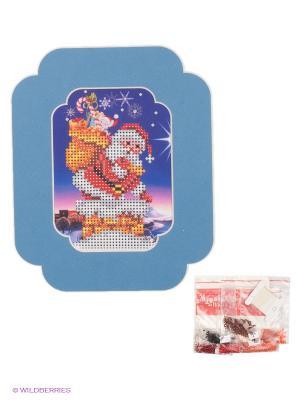 Набор для вышивания с бисером и паспарту  Мешочек подарками Матренин Посад. Цвет: синий, белый, оранжевый