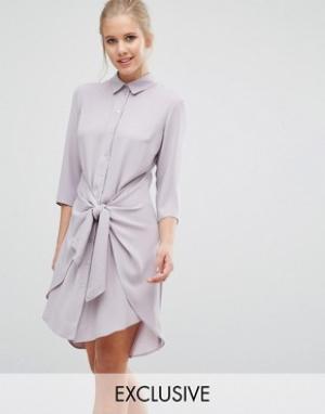 Closet London Платье с завязками спереди и длинными рукавами. Цвет: коричневый