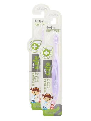 Детская зубная щетка Kids safe toothbrush (шаг 2, 4-6 лет) х 2шт сиреневая Cj Lion. Цвет: сиреневый