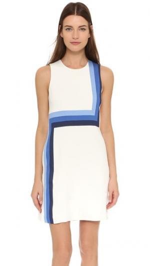 Платье из денима с полосками Lisa Perry. Цвет: белый/безмятежный голубой/фаянс/затмение