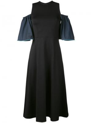Платье Rogers с контрастными рукавами Ganni. Цвет: чёрный