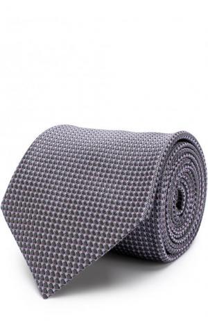 Шелковый галстук с узором Brioni. Цвет: оливковый