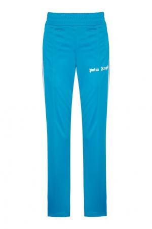 Голубые брюки с лампасами Palm Angels. Цвет: голубой