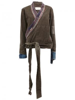 Куртка с запахом Greg Lauren. Цвет: серый