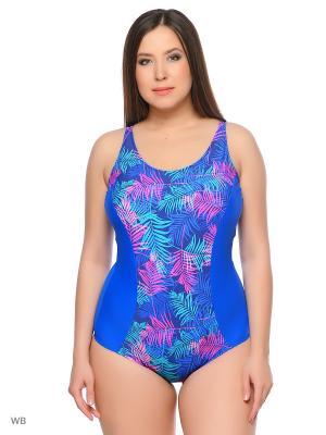 Слитный купальник AIRIDACO. Цвет: синий, бирюзовый, розовый