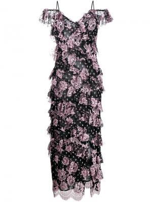 Платье с цветочным принтом Alessandra Rich. Цвет: чёрный