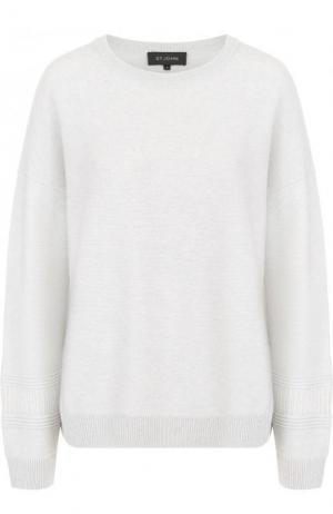 Кашемировый пуловер с круглым вырезом St. John. Цвет: светло-серый