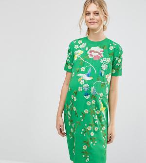 ASOS Maternity Цельнокройное платье для беременных с вышивкой. Цвет: зеленый