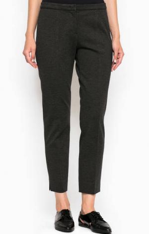 Укороченные однотонные брюки из вискозы MORE &. Цвет: серый