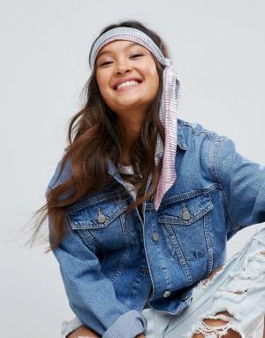ASOS Серебристый головной платок со складками. Цвет: серебряный