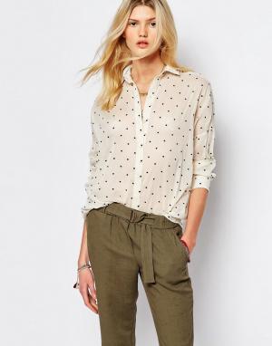 Sessun Кремовая рубашка в горошек. Цвет: кремовый