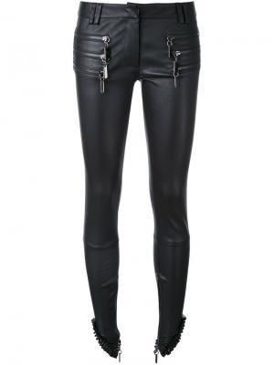 Кожаные брюки с молниями Thomas Wylde. Цвет: чёрный