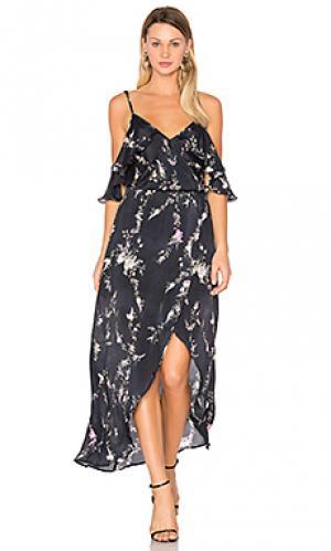 Макси платье с принтом rockefeller Karina Grimaldi. Цвет: черный