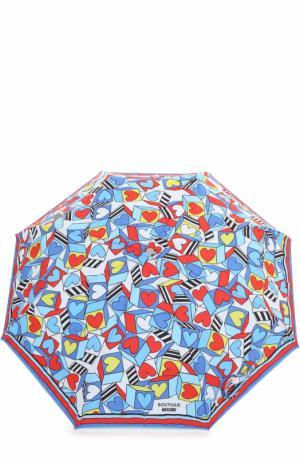 Складной зонт Moschino. Цвет: голубой