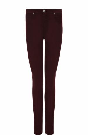 Однотонные джинсы-скинни Ag. Цвет: бордовый