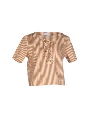 Блузка WEILI ZHENG. Цвет: коричневый