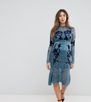 Hope and Ivy Maternity Кружевное платье с длинными рукавами и декоративной отделкой & Iv. Цвет: синий