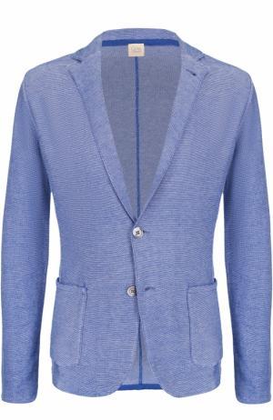 Хлопковый однобортный пиджак Sartoria Latorre. Цвет: голубой