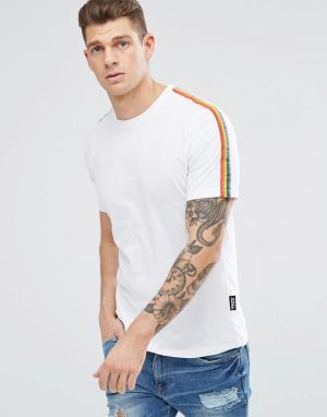 Jaded London Белая футболка с радужными полосками на рукавах. Цвет: белый